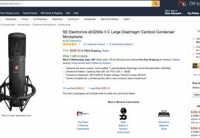 Amazon에 올라온 sE 2200A 2C 마이크 사용자 리뷰 번역
